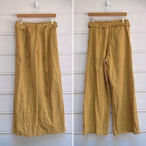 Uniqlo mustard yellow linen blend wide leg pants M